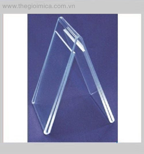 Small v-shaped clear lucite/acrylic menu holder